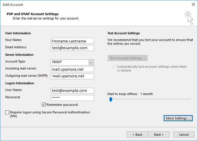 Setup your mail with Outlook SPAMORA - NETIM